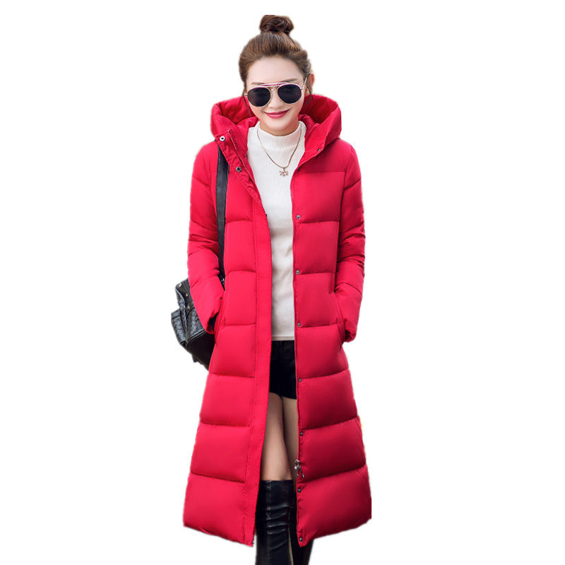 2016 Winter Women's Cotton Slim Long Coat Hooded Parka Jackets Coats Solid Thick Warm Overcoat Plus Size Down Parkas Female C267