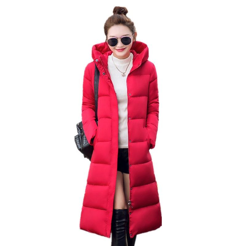2016 Kış kadın Pamuk Ince Uzun Ceket Kapşonlu Parka Ceketler palto Katı Kalın Sıcak Palto Artı Boyutu Aşağı Parkas Kadın C267