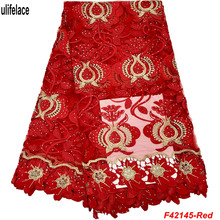Red Tulle Nigerian French Lace Fabric With Stones Aso Ebi African Mesh Material Wedding Guipure Edge F4-2145