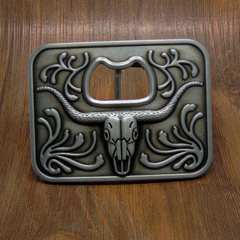 Casual Fashion Luxury Metal Men Belt Buckles Metal Bottle Opener With Cow Head Nickle Rectangle Belt Buckle Gifts for Men