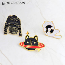 QIHE JEWELRY Pins and brooches Space cat,music CD cat,black sweater pins Cat pins Badges Hard enamel lapel pin Cat jewelry(China)
