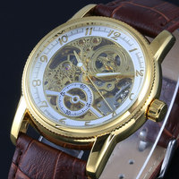Top Brands WINNER Watches Classic Mens AUTO Automatic Mechanical Watch Self Winding Analog Skeleton Brown Leather