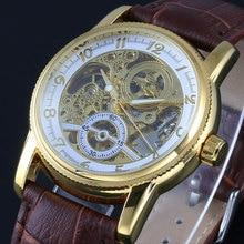 Лучший бренд победитель часы классические мужские авто автоматические механические часы self-ветер анти-обмотки аналоговый скелет коричневый кожаный человек наручные часы