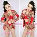 3 шт. наборы Золотые кружева красный черный женский сексуальный костюм этап для star певица танцор ночной клуб бар мода dj показать производительность