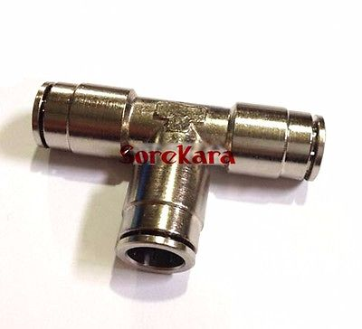 Pneumatique Nickel laiton Tee 3 maneira Push In connecteur Union montage Quick Release Air plomberie Tube en forme O / D 12 mm