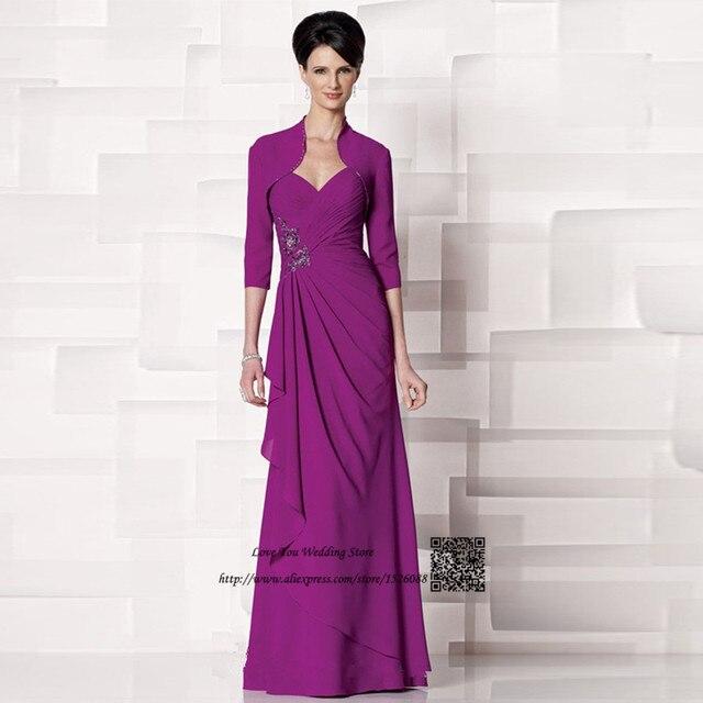 045b0ff6503 Gray Purple Plus Size Vintage Mother of the Bride Pant Suits Chiffon  Wedding Bride Groom Dresses with Jacket Vestido de Madrinha