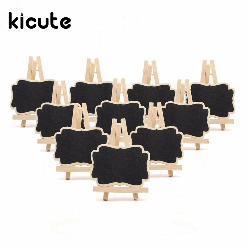 Kicute 10pcs/lot Mini Wooden Triangle Stand Vertical Message Small Blackboard Crafts Decoration Office School Supplies Gifts
