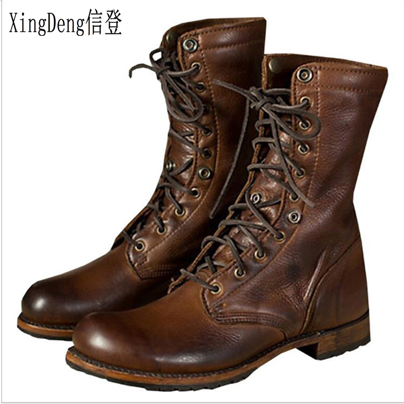ManTurnup High Top Riding Western Military Arymy Desert Boots Shoes 38-48 Men Pu Leather Lace Up Ankle Motorcycle Boots Shoes