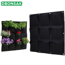 Garden Grow Bag Pockets Vertical Planter Wall-mounted Gardening Flower Plant Hanging Bags Felt Outdoor Growing Pot