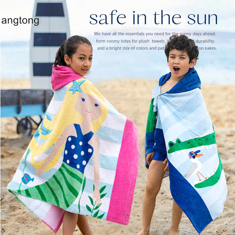 76*126cm 100% cotton beach towel Europe and American PBK no  formaldehyde swimming wearable children hooded towel cape CR-T1
