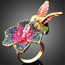 New Punk Colorful Enamel Flowers and Bird Animal Design Gold color Rings for Women J00957