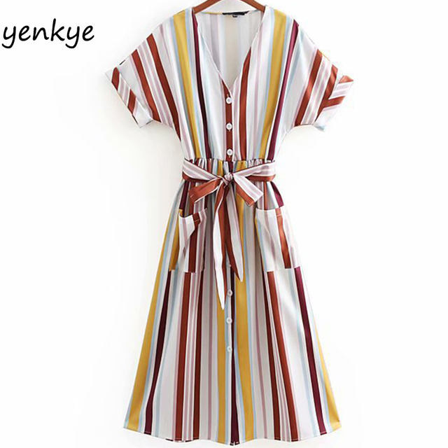 bcec83abaf6 Summer Dress 2018 Women Multicolor Striped Dress Lady V Neck Short Sleeve  With Belt Pockets Casual Long Dress CCWM8780
