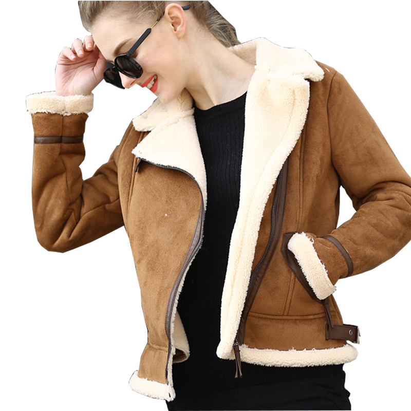 2019 Autumn Winter Womens Coffee Lambs Wool Short Biker Faux Leather Suede Jackets Brown Shearling Sheepskin Coats Women