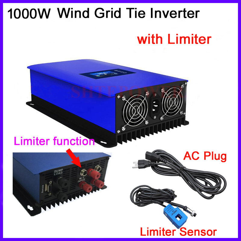 MPPT inverter for wind turbines 3 three phase AC 24V 48V input 1000W Grid Tie inverter LCD Wifi plug and dump load resistor