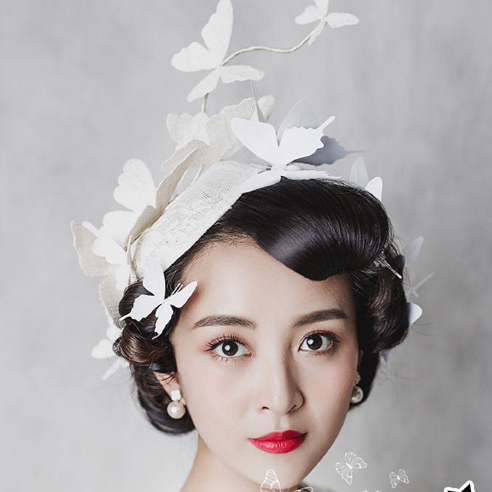 Vintage Beige Bridal Hats Stereoscopic Butterfly