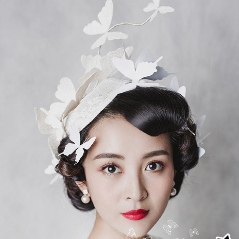 Vintage bege chapéu Fascinator chapéus do casamento de noiva chapéus de borboleta Formal de rendas Fascinator