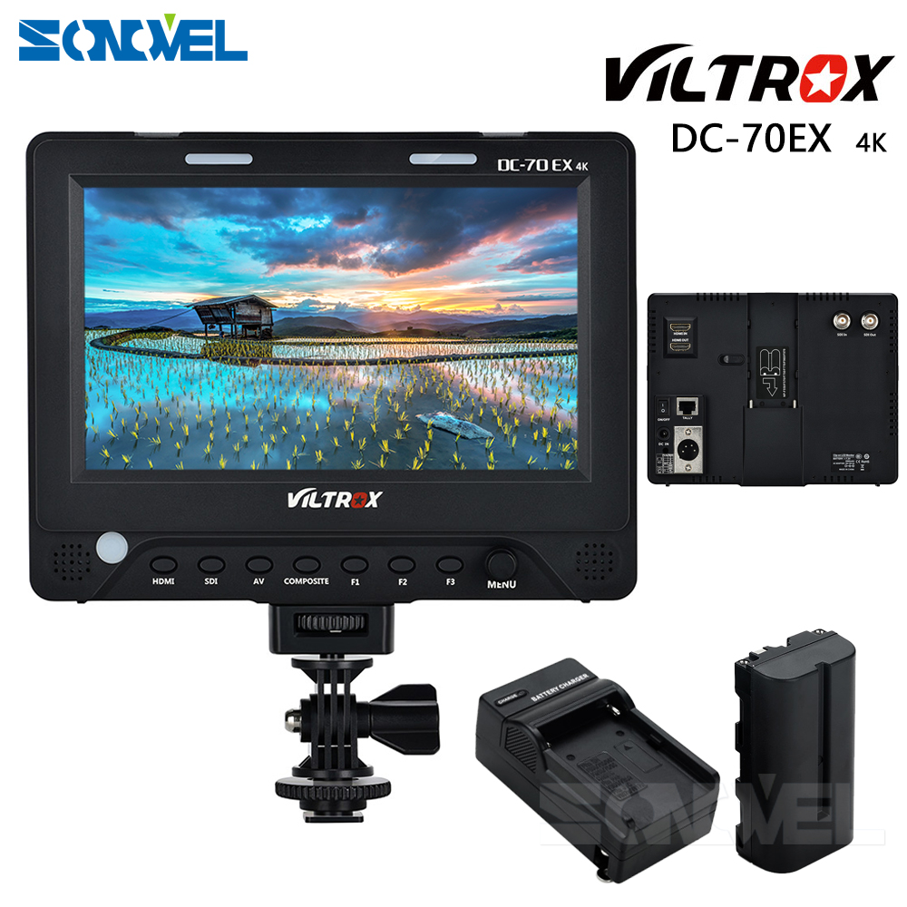 7'' Viltrox DC-70EX 4K HD Clip-on HDMI/SDI/AV Input Output Camera Video LCD Monitor Display for Canon Nikon Pentax Olympus DSLR
