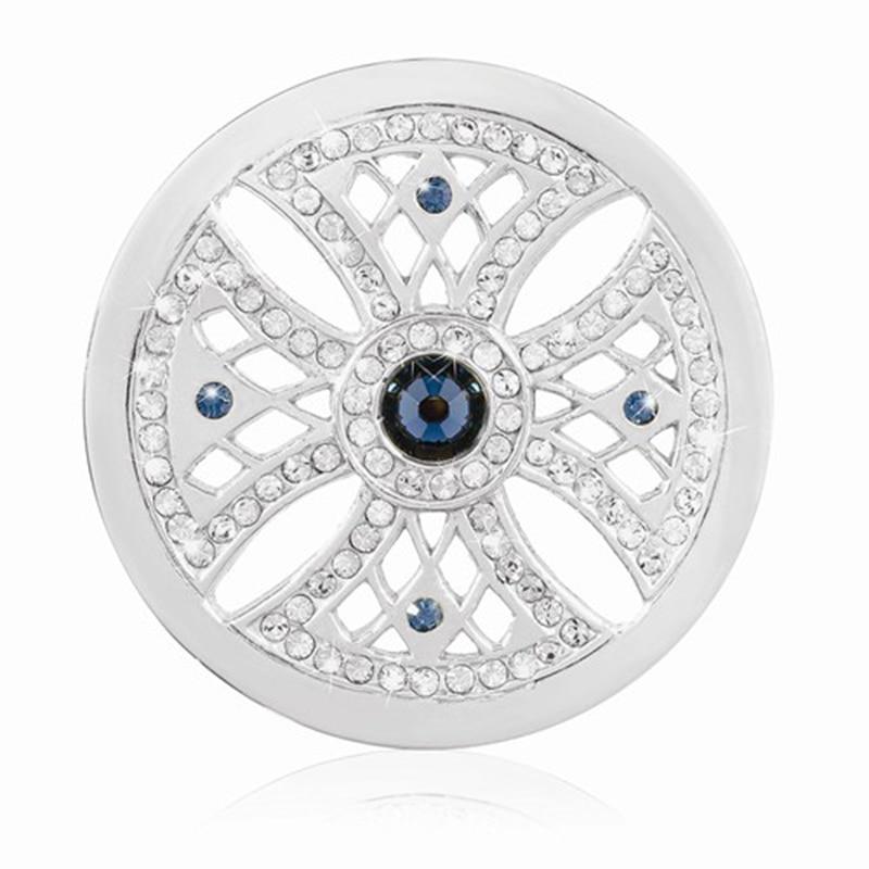 Terbaru Rhodium Plating Copy Koin Lintas Bentuk Disc Koin Kristal - Perhiasan fashion