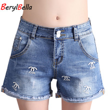 Women High Waist Denim Shorts 2017 Summer Embroidery Straight Stretch Short Jeans Casual Ladies Pantalon Corto Mujer BerylBella