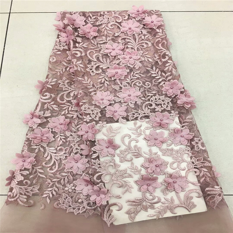 High Quality African Lace Fabric Net 2018 French Lace Fabric Tulle With pearl Red 3D Nigerian Lace Fabric For Wedding MJKY56