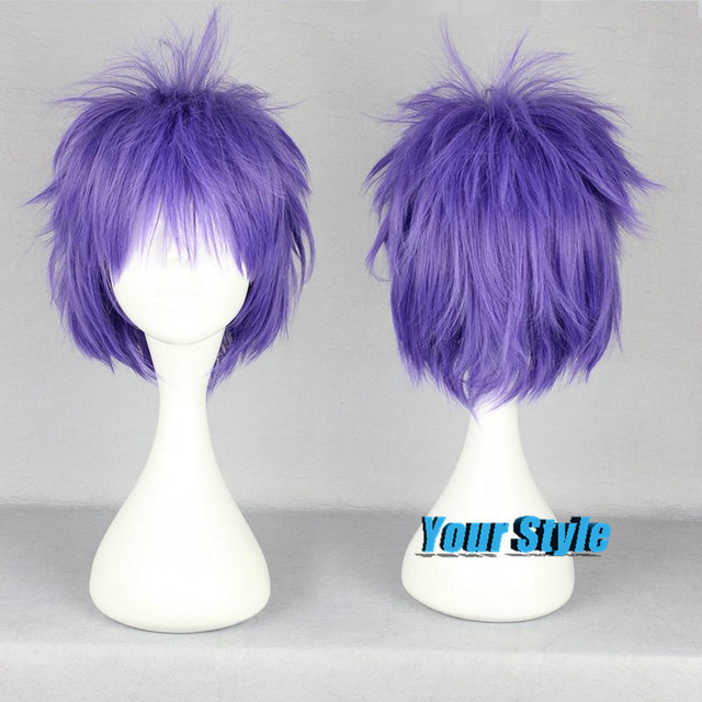 Hakkenden Wig Cosplay Short Pixie Cut Wig Purple Male Cosplay Wig Peruca  Cosplay Perruque Synthetic b03d8f19b
