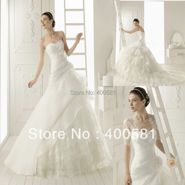 5f2727c171 Royal Overlapping Sweetheart Tiered A-line Organza Lace Chapel train Flower  Side Wedding Gown