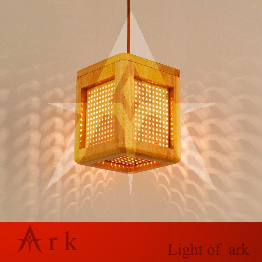 Us 590 Ark Light Handmade Wood Cube Led Pendant Lamp Foyer Dining Room Restaurant Bedroom Hanging Drop Lights Coffee Shops Pub In Pendant Lights