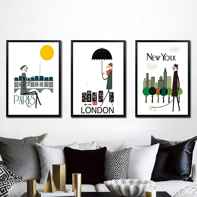 Triptych Modern London New York <font><b>Paris</b></font> City Travel Art Print Poster Hipster Wall Pictures Canvas Painting No Framed Home Decor image