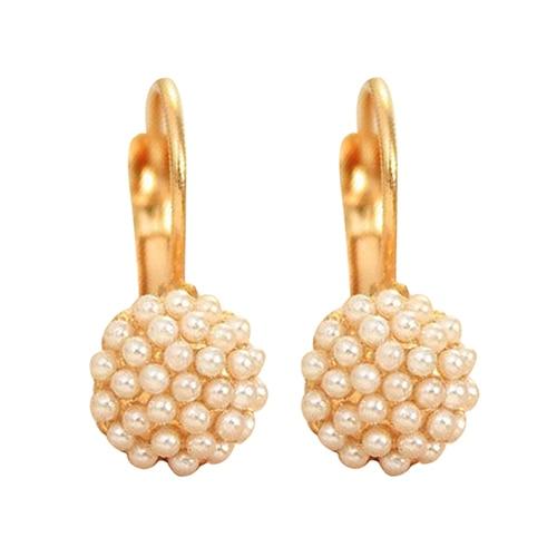 24Pairs Women's Faux Pearls Beads Golden Alloy Leverback Eardrop Earrings Party Jewelry