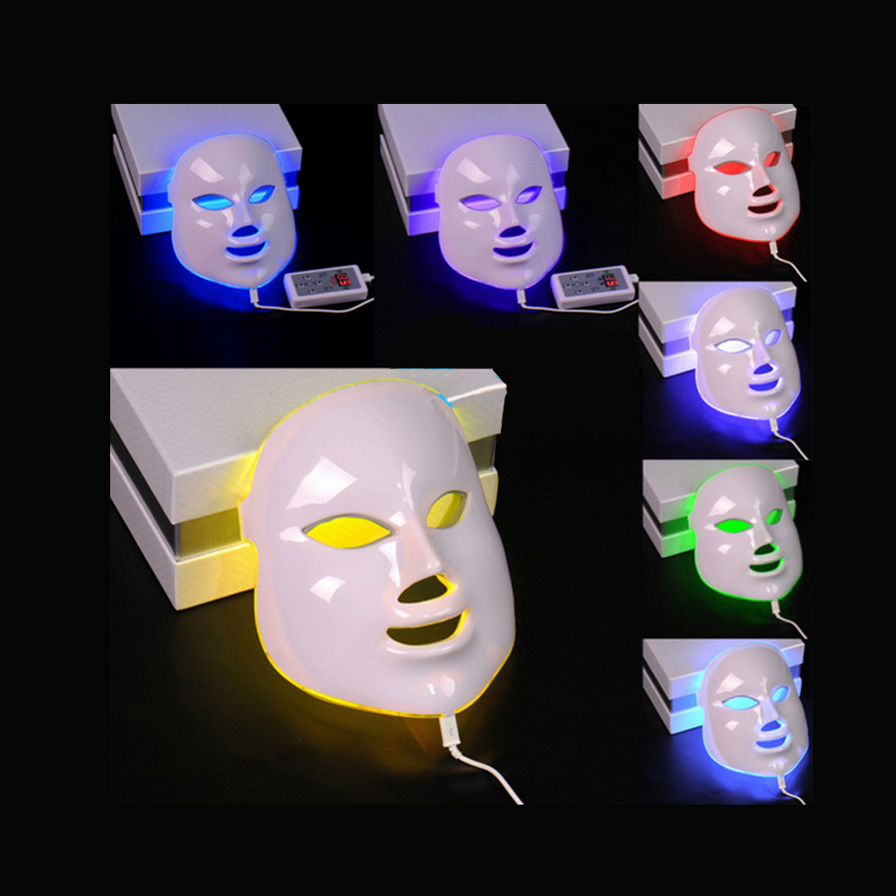New LED Facial Mask 7 Color LED Photon Facial Mask Wrinkle Acne Removal Face Skin Rejuvenation Facial Massage Beauty Spa Device 7 colors light photon electric led facial mask skin pdt skin rejuvenation anti acne wrinkle removal therapy beauty salon