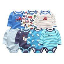 7 adet/grup Baskı Unisex Kostüm Pamuk Erkek Giyim Yenidoğan Bebek Kız Giysileri Setleri Bebek Romper Tam Kollu O boyun Roupas de bebe