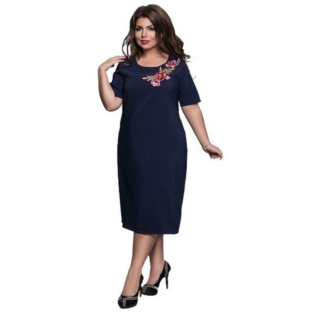 Лидер продаж женские элегантные офисные вечерние Большие размеры летние платья Большие размеры женщины цветы Embroideried Платье Размер S-6XL