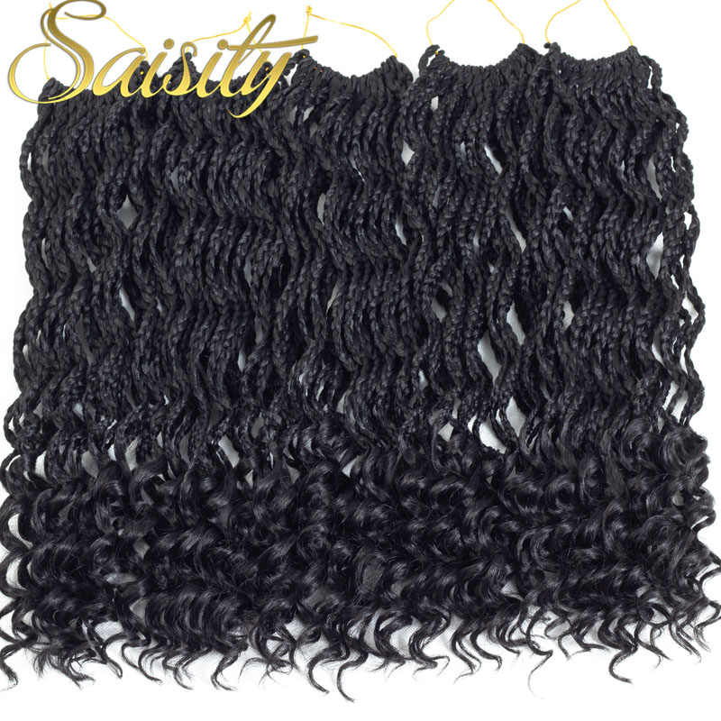 Saisity Synthetic Box Braids Crochet Braids Crochet Hair Extensions  Fiber Braiding Hair Bulk Black Colors