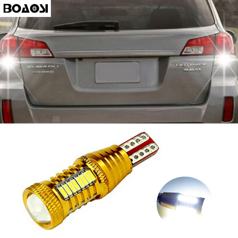BOAOSI 1x Error Free Super Bright Reverse Light 921 912 T15 W16W For Subaru XV Forester 2013-2014 Outback 2015 2 x error free super bright white led bulbs for backup reverse light 921 912 t15 w16w for peugeot 408
