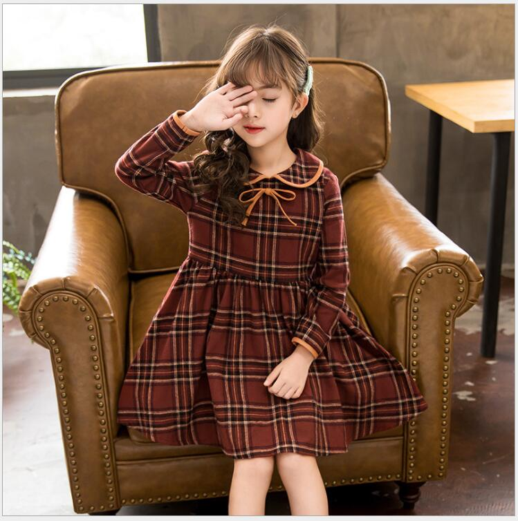 fall girls long sleeve plaid dress for holiday birthday party elegant baby girl long sleeve princess dress on graduation day elegant long sleeve round neck color block ol dress for women