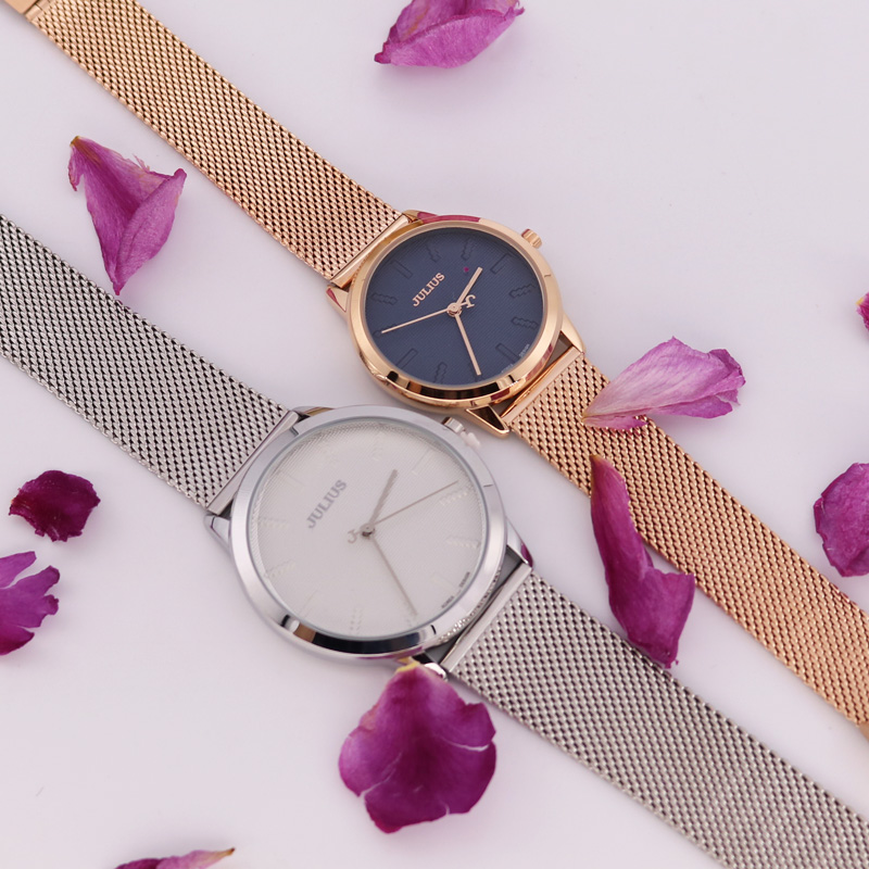 New Julius Women's Watch Men's Watch Couple Japan Quartz Hours Fashion Clock Stainless Steel Band Lover's Birthday Gift