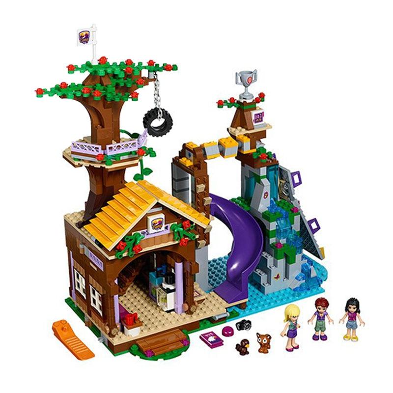 WAZ Compatible Lego Friends 41122 Model 01004 726pcs Adventure Camp Tree House Figure building blocks Bricks toys for children bela 10497 building bricks friends series adventure camp tree house 41122 emma mia figure educational toys for children gifts
