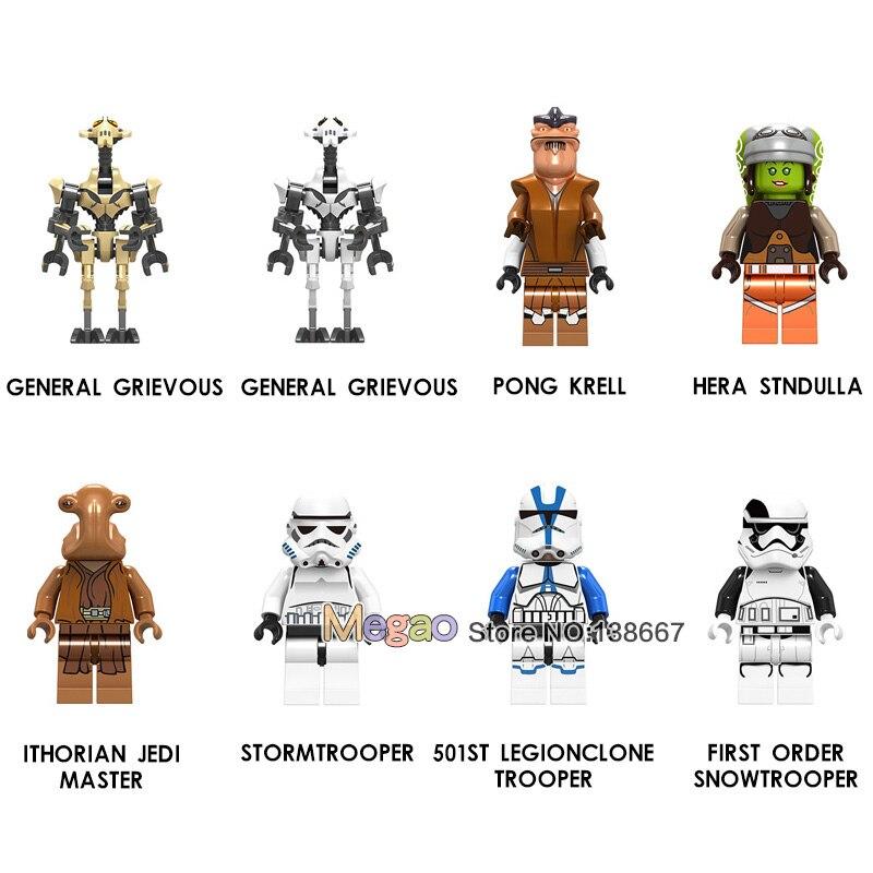 Building Blocks 50PCS LOT Clone Storm Pong Krell Jedi Master Snoke Maz Kanata Action Children Gift