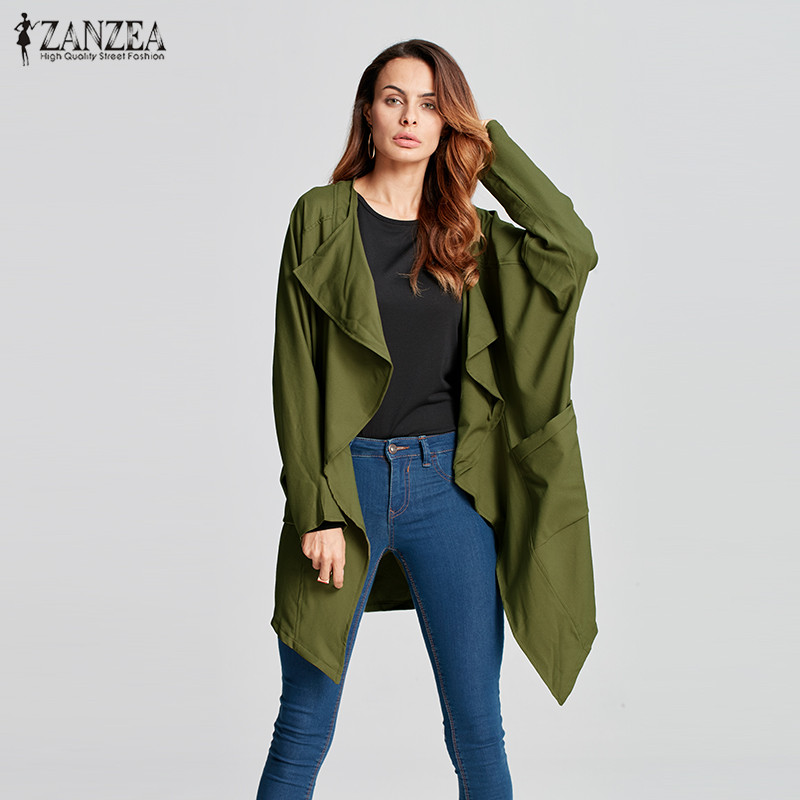 ZANZEA New 2018 Fashion Women Autumn Long Sleeve Waterfall Long Coat Jackets Irregular Hem Pockets Loose Casual Solid Cardigan