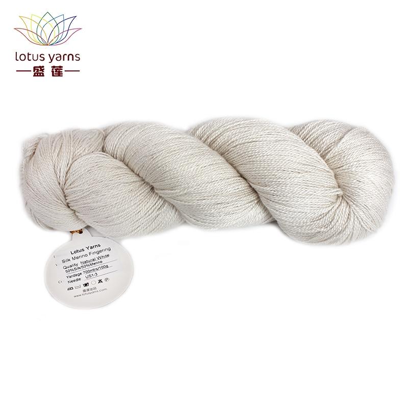 50/% Silk 50/% Merino Undyed Yarn Fingering//DK Weight Hand Knitting Natural White