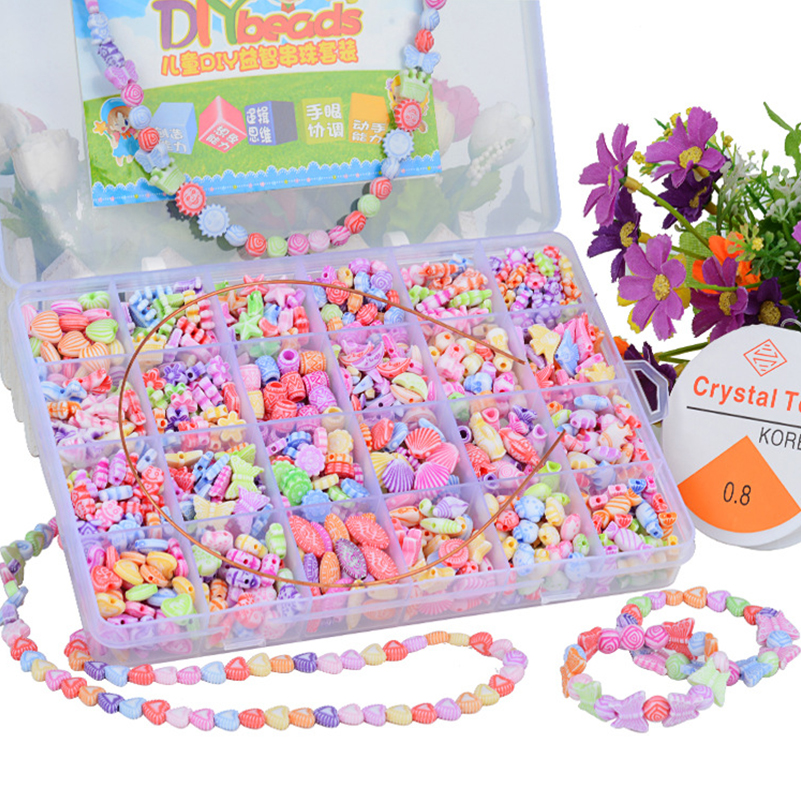 500pcs Arts Crafts DIY Beads Toys Beads Acrylic Colorful Mixing Charm Beads For DIY Jewelry Making Toy For Kids