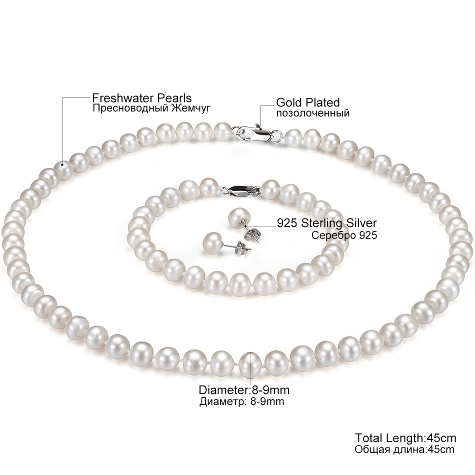 Classic White Pearl Jewelry Sets for Women Wedding Jewelry Gifts 8 9MM Freshwater Pearls 925 Sterling Silver Earrings Set FEIGE in Jewelry Sets from Jewelry Accessories