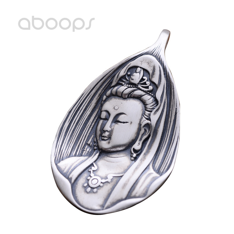 Vintage Solid 925 Sterling Silver Buddhism The Goddess of Mercy Guanyin Necklace Pendant for Men Women Free Shipping цены