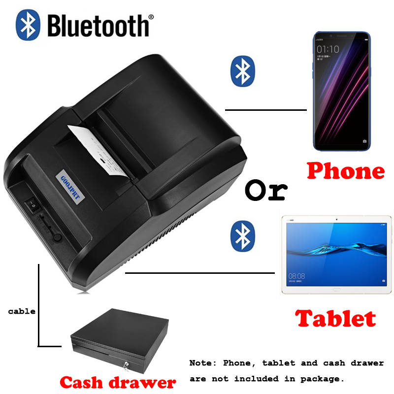 US $34 96 24% OFF|Free P O S Pos system Loyverse bluetooth Themal Printer  Wireless Thermal Receipt Printer For Android Phone and Tablet -in Printers