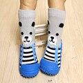 3 Пар/лот Младенцев Носочки для Новорожденных Антипробуксовочная Носки С Резиновой Подошвой для Малышей Крытый Этаж Обувь Детская Хлопок WS9202