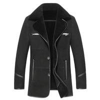 Russe Hiver Épais Vêtements En Cuir D'affaires Décontractée En Cuir Veste Revers Cachemire Doublé Haute Qualité Chaud en cuir Manteau Grande taille