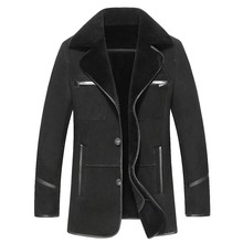 Russian Winter Thick Leather Garment Business Casual Leather Jacket Lapel Cashmere Lined High Quality Warm leather Coat Big size