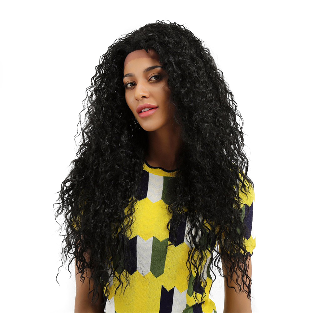 Element Kanekalon Synthetic 130% Density 26 Inch Lace Front Wig Long Hair Afro Kinky Curly Wigs For Black Women Free Shipping