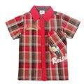 retail summer baby boys children t-shirt 2016 new design plaid 100%cotton handsome boy  t-shirt nova kids child wear top t-shirt