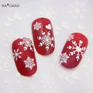Image 5 - 1 Sheet White Snowflake Nail Stickers Christmas Snow Nail Stickers 3D Adhesive Sticker